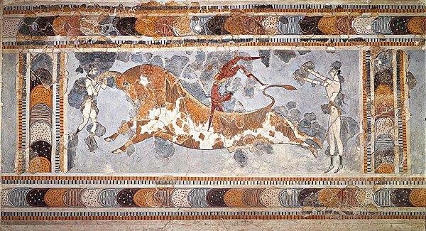 Ταυροκαθάψια (τοιχογραφία), Παλάτι της Κνωσού, Κρήτη