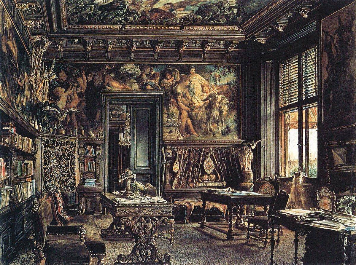 Το γραφείο και η βιβλιοθήκη του Νικόλαου Δούμπα στη βιεννέζικη κατοικία του (Palais Dumba). Ακουαρέλα του Rudolf von Alt (1877). Βλ. Wikipaintings.