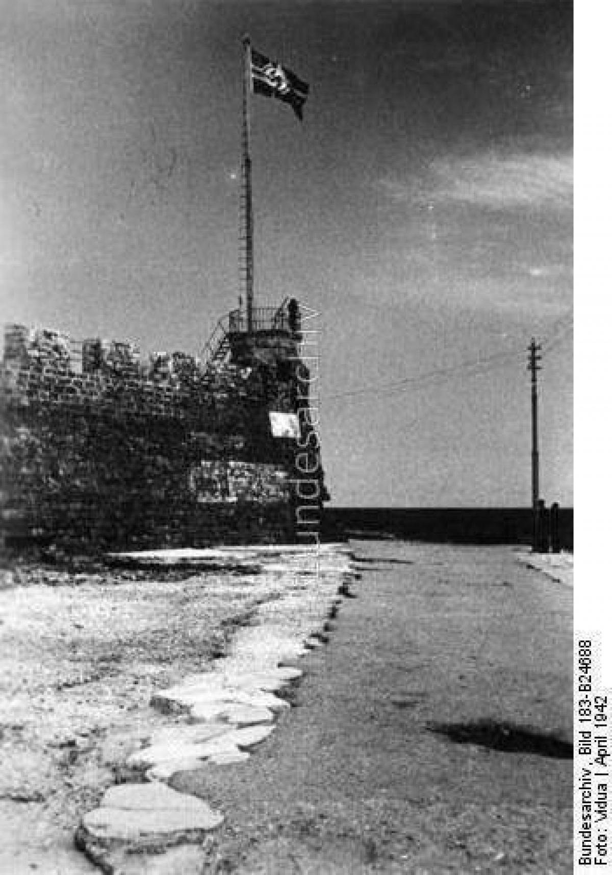 1941 Χανιά, η Ναζιστική σημαία κυματίζει στον Φιρκά