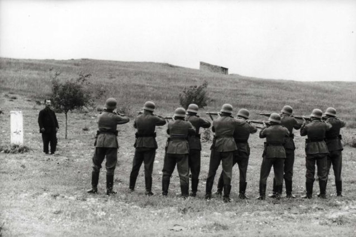 Crete, Greece, German soldiers preparing to shoot a local hostage, May-June 1941