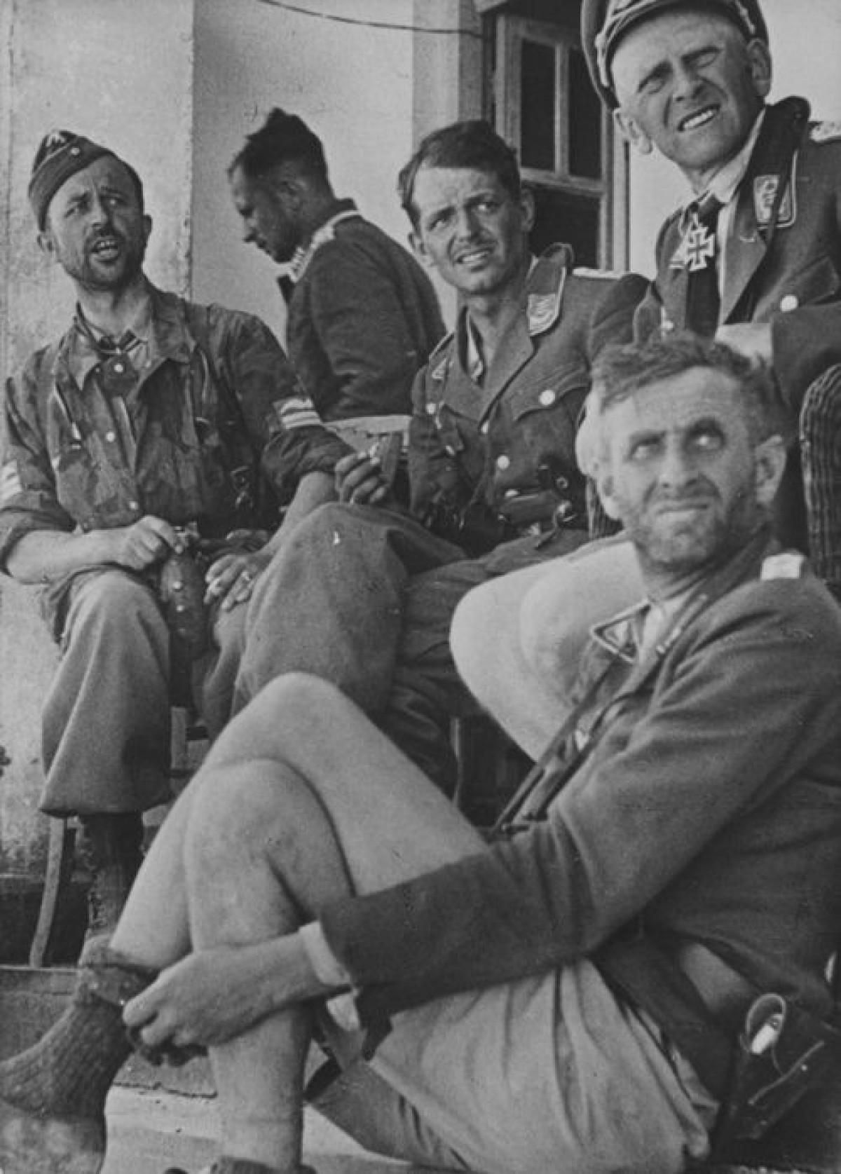 Ragged looking group of Luftwaffe officers in Heraklion, Crete