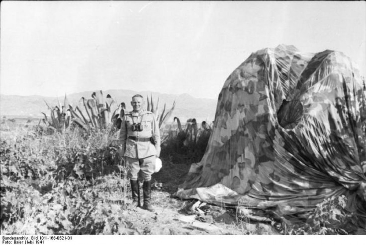 Ramcke next to a parachute, May 1941, Crete