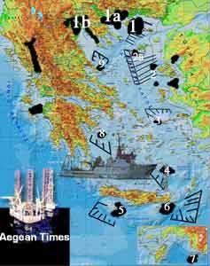 Στην φωτογραφία , σας παρουσιάζουμε χάρτη με τις εστιασμένες περιοχές του Αιγαίου όπου «πιθανολογείται» η έχει βεβαιωθεί πως υπάρχουν «λεύγες υδατανθράκων». Ένα μελλοντικό πεδίο «συνδιαχείρισης – συνεκμετάλλευσης» μεταξύ Η.Π.Α. – Τουρκίας – Ελλάδας και Γερμανίας . Ιδιαίτερα η τελευταία το επιθυμεί διακαώς και έχει «νευριάσει πολύ» που την έχουν αποκλείσει , όπως και την Τουρκία, από την «συνεκμετάλλευση» του «φυσικού αερίου» στην ευρύτερη περιοχή της «Μεσογειακής Λεκάνης» , οι Η.Π.Α. , Ελλάδα , Κύπρος , Αίγυπτος & το Ισραήλ) . Γι΄αυτό ίσως και εντείνεται η συνεργασία Γερμανίας – Τουρκίας με προοπτική το διαίρει και βασίλευε και την «συνεκμετάλλευση στην περιοχή του Αιγαίου.