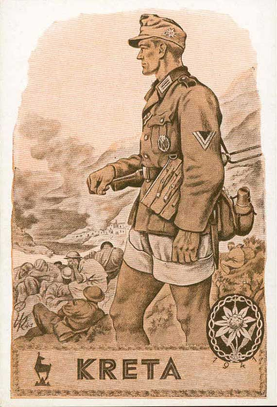 German WWII propaganda depicting a German soldier, Kreta - fighting on Crete For Ben