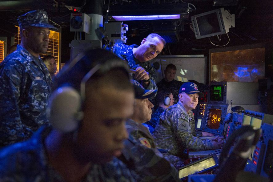 U.S. Army Gen. Martin E. Dempsey meets with sailors aboard the guided-missile destroyer USS Stout in Souda Bay , Greece, Dec . 7, 2013.