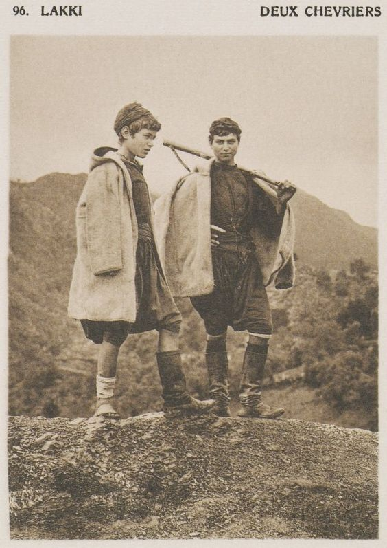 Νεαροί γιδοβοσκοί από τους Λάκκους Χανίων. Lakki. Deux chevriers. 1919 BAUD-BOVY, Daniel, BOISSONNAS, Frédéric