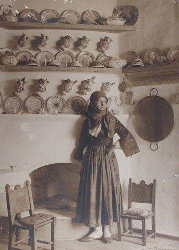 1927 CRETAN HOUSE WOMAN CRETE Bw photograph (on Ebay)
