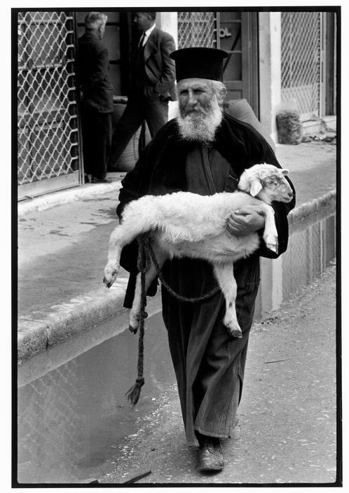 Constantine Manos 1964 GREECE. Crete. 1964. Priest in town on market day