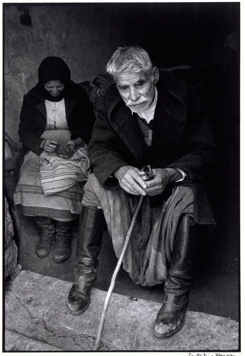 Greece. Crete. 1964. Blind man in doorway of his house