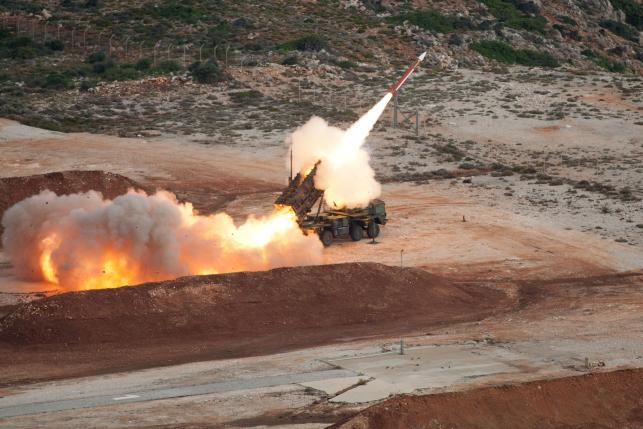 German armed forces Bundeswehr fire a Patriot missile at the NATO Missile Firing Installation during training at Sauda Bay near Chania, Crete