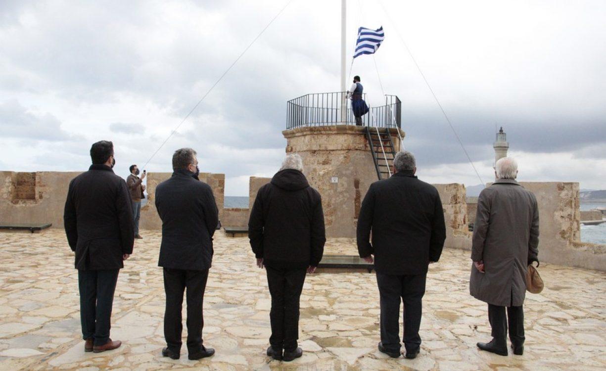 Παρουσία μόνο επισήμων λόγω κορωνοϊού τιμήθηκε στα Χανιά η 107η επέτειος της Ένωσης της Κρήτης με την Ελλάδα | Φωτός